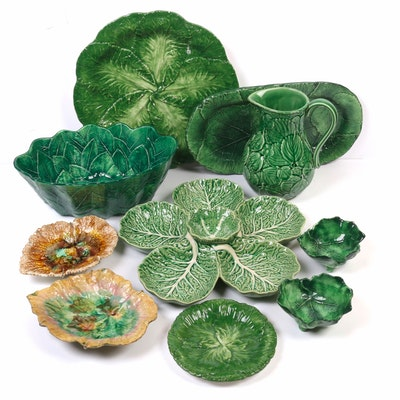 Vietri, Bordallo Pinheiro, and Other European Leaf Form Majolica Tableware