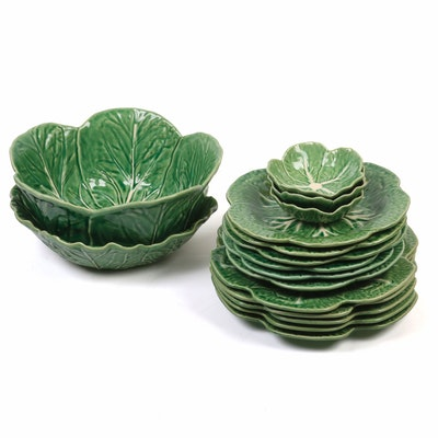 Bordallo Pinheiro Portugese Majolica Cabbage Form Dinnerware and Serveware