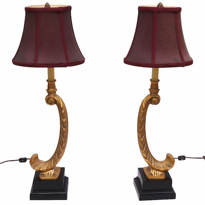 Rocaille Leg Style Table Lamps, 20th Century