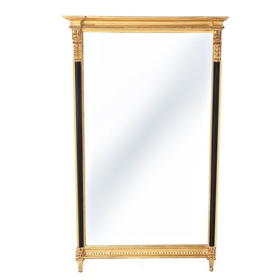 Carvers' Guild Neoclassical Style Giltwood and Parcel-Ebonized Mirror
