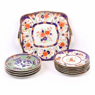 Japanese Hand-Painted Imari Platter and Plates, Mid to Late 20th Century