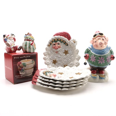 Fitz and Floyd Santa Canape Plates with Other Table Accessories