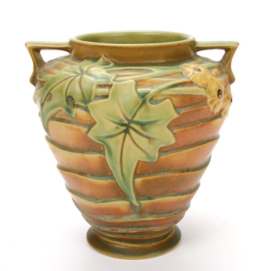 """Roseville """"Luffa"""" Art Pottery Vase with Button Camellias, 1930-1937"""