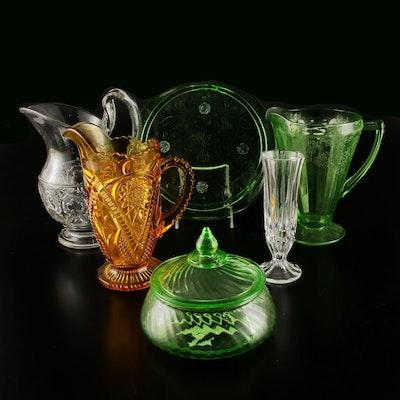 Pressed Glass Tableware and Crystal Vase