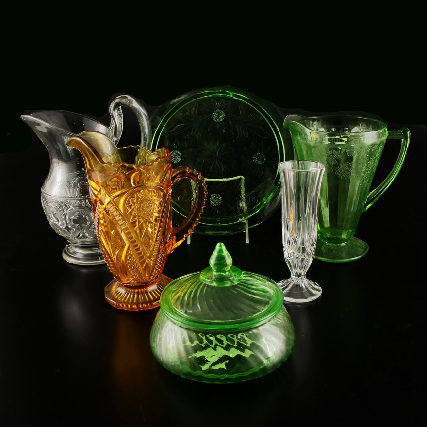 Pressed Glass Tableware and Crystal Vase