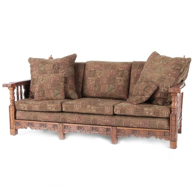 Romweber (Attributed) Carved Oak Upholstered Sofa, Mid to Late 20th Century