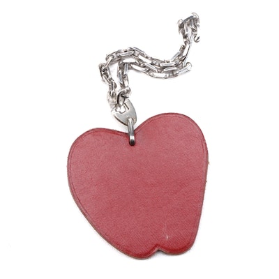 Hermès Leather Apple Bag Charm with Sterling Silver Chain