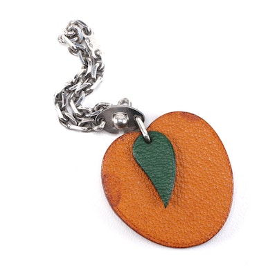 Hermès Leather Apricot Bag Charm with Sterling Silver Chain