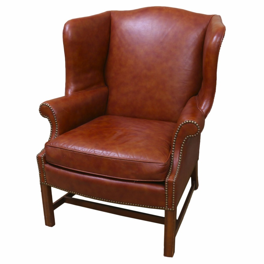 Brown Leather and Brass-Tacked Wingback Armchair, Late 20th Century