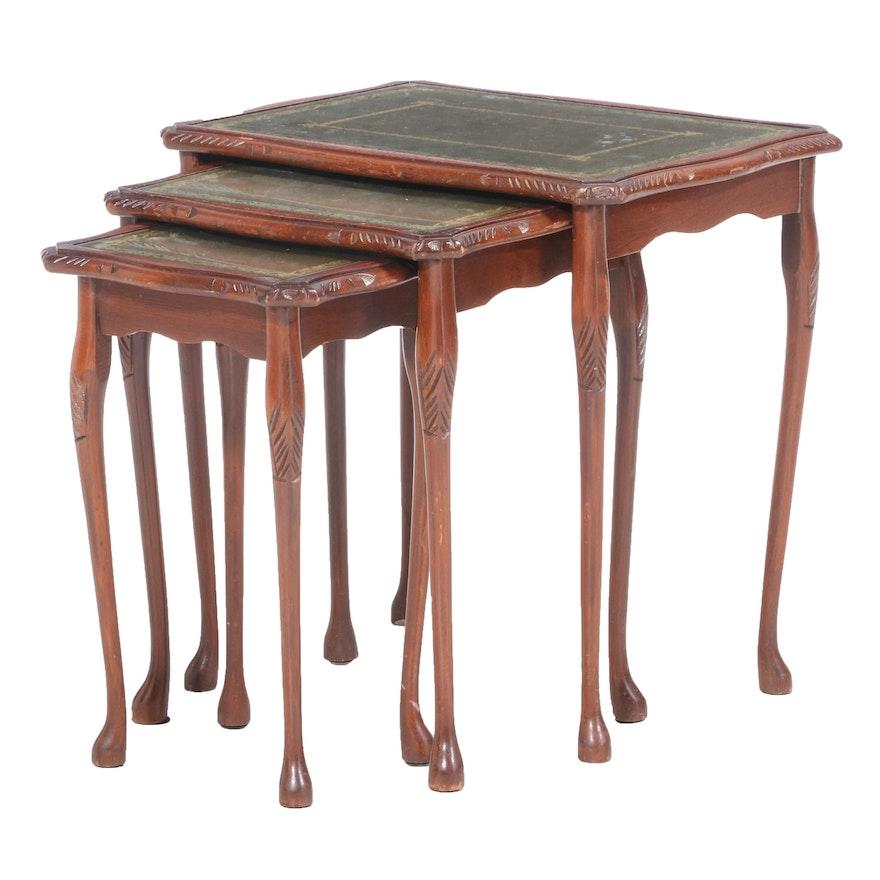 Set of Three Walnut Graduated Side Tables, Possibly Italian, 20th Century