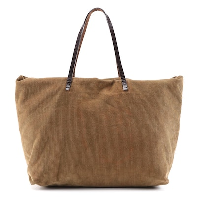 Fendi Corduroy Tote with Brown Leather Straps