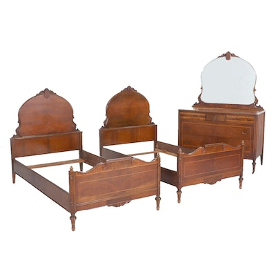 Inlaid Walnut Bedroom Set, Early to Mid 20th Century