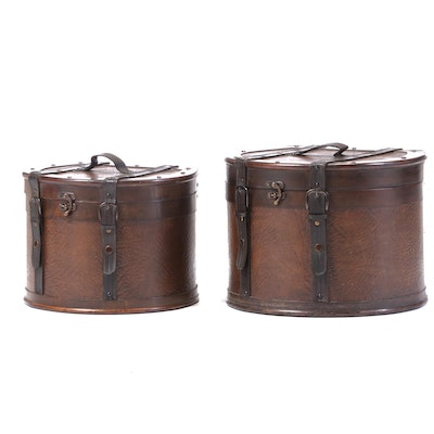 Leather Wrapped Wood Travel Hat Boxes, Mid to Late 20th Century