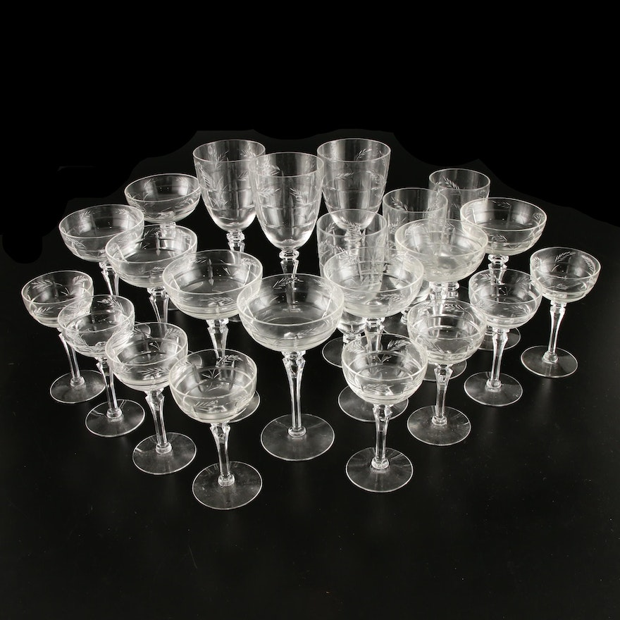 Etched Water Goblets, Champagne Coupes, and Cordial Glasses