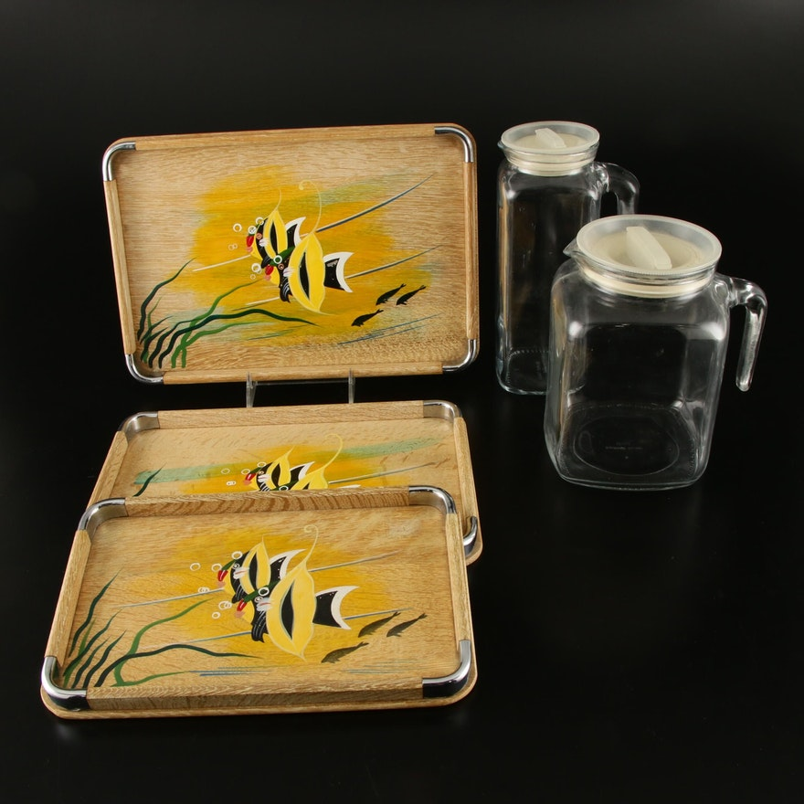 Italian Glass Canisters and Hand-Painted Wood Trays