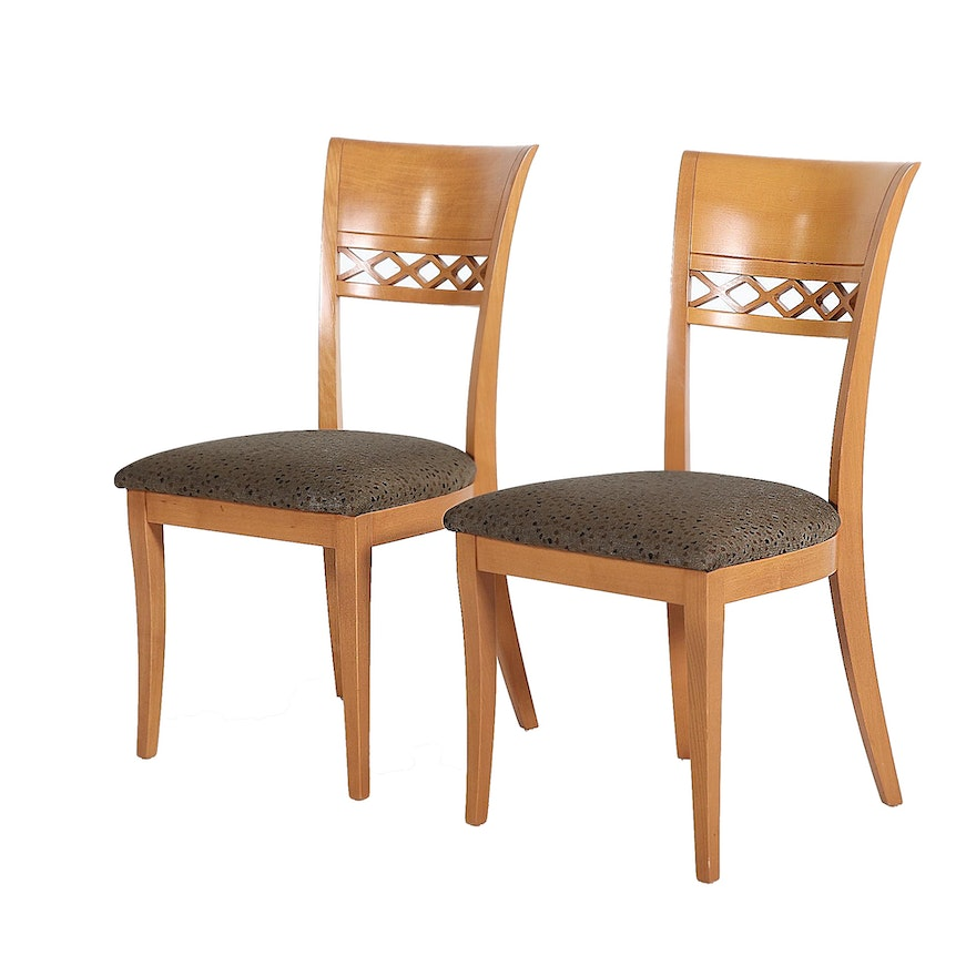 Pair of Wooden Side Chairs with Upholstered Seats, 21st Century