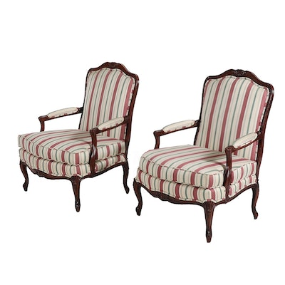 Pair of Sherrill Furniture French Provincial Open arm Chairs, Late 20th Century