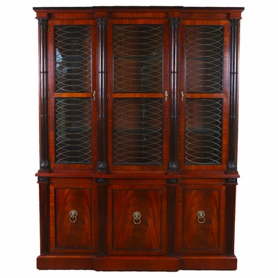 Baker Mahogany, Parcel-Ebonized and Brass-Mounted Illuminated China Cabinet