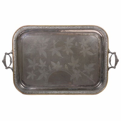 Reed & Barton Etched Leaf Silver Plate Butler's Tray, Late 19th Century