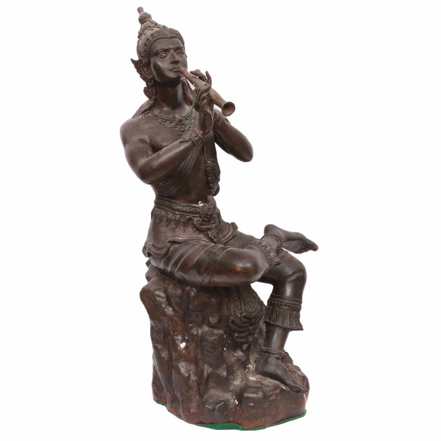 Thai Style Plaster Sculpture of Seated Musician