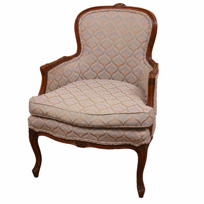 Century Furniture Louis XV Style Upholstered Bergère Chair, Late 20th Century