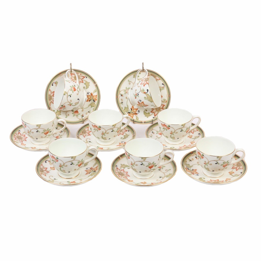 """Wedgwood """"Oberon"""" Teacups with Saucers, Late 20th Century"""