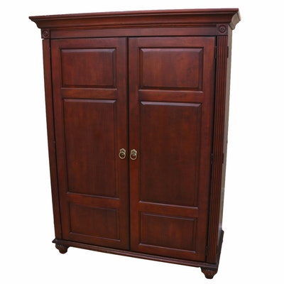 Empire Style Walnut-Stained Office Armoire, 20th C.
