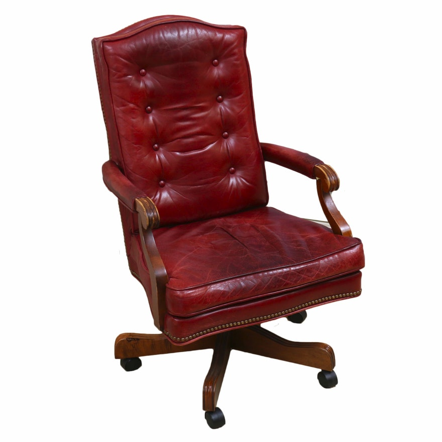 Red Tufted and Brass-Tacked Leather Executive Armchair