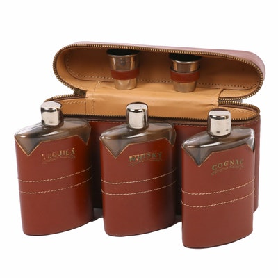 Tequila, Whisky, and Cognac Flasks and Shot Glasses in Case, Mid-20th Century