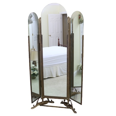 Neoclassical Style Three-Way Folding Brass Floor Mirror, Mid to Late 20th C.