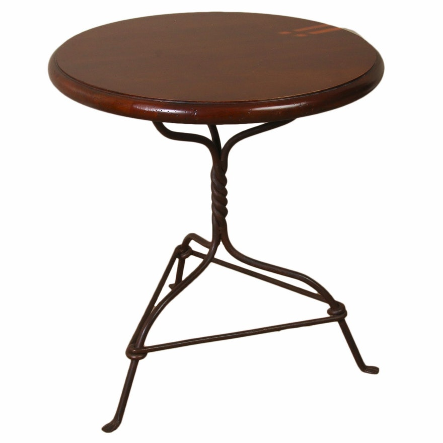 Iron Wire and Wood Side Table, Late 20th Century