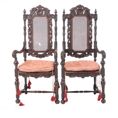 Pair of Carved Walnut William and Mary Style Armchairs, Early 20th Century