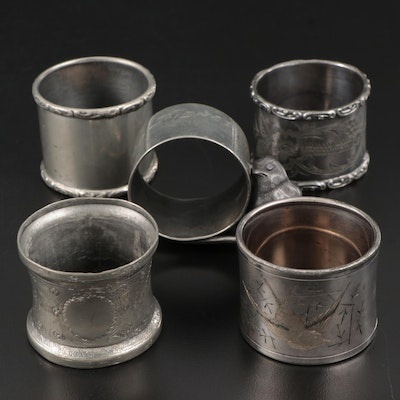 Vintage Assorted Pewter and Silver Plate Napkin Rings