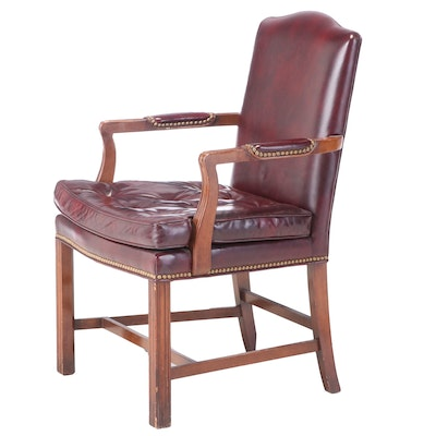 Chippendale Style Bonded Leather and Brass-Tacked Armchair, 20th Century