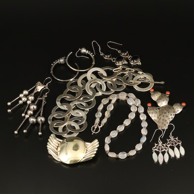 Sterling and Fine Silver Jewelry Featuring Mother of Pearl, Onyx and Quartz