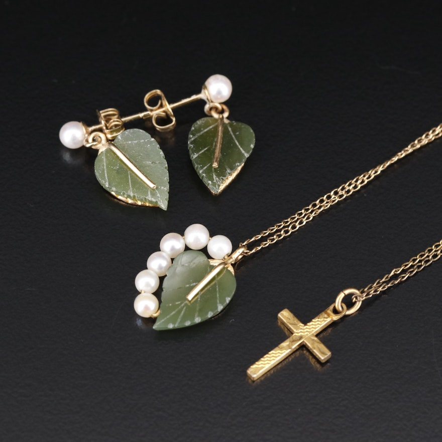 Antique and Vintage Jewelry Including Foliate Necklace and Earrings Set