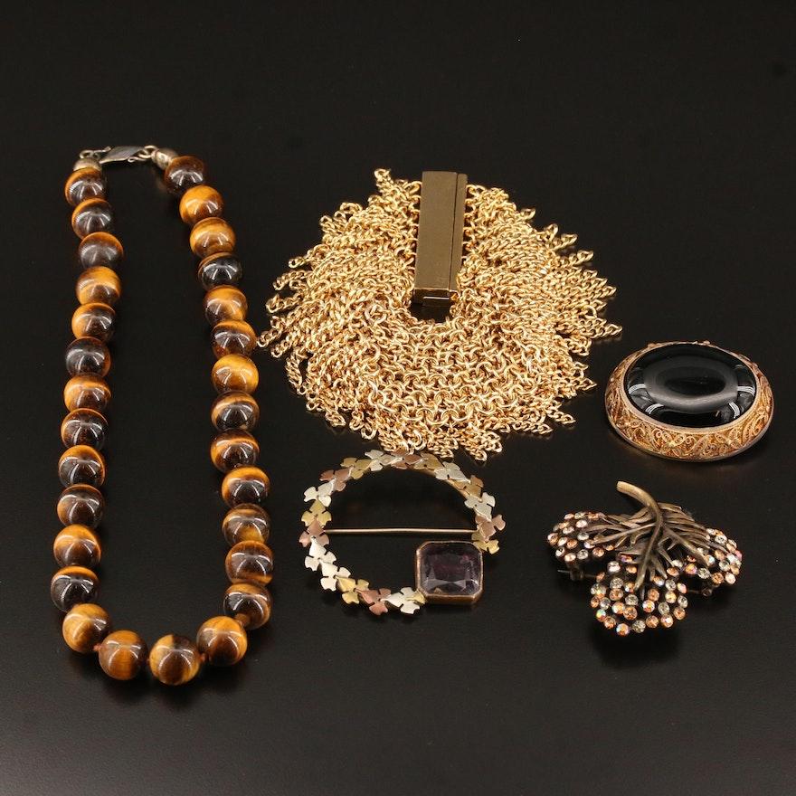 Assorted Jewelry Including Vintage, Karu Brooch and Sterling Filigree Brooch