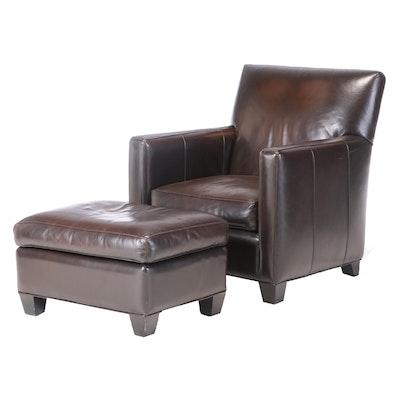 Crate & Barrel Leather Arm Chair with Ottoman, Contemporary