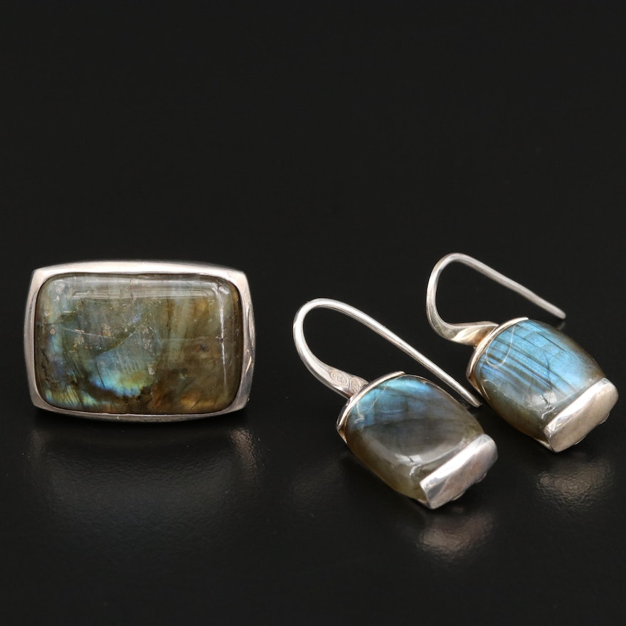 Metalsmiths Sterling Silver Labradorite Ring and Earrings