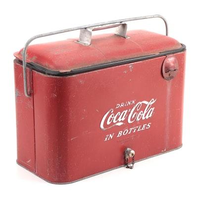 "Progress Refrigerator ""Drink Coca-Cola In Bottles"" Insulated Cooler, 1940s"