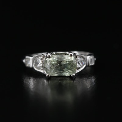 Platinum 1.52 CT Chrysoberyl and Diamond Ring