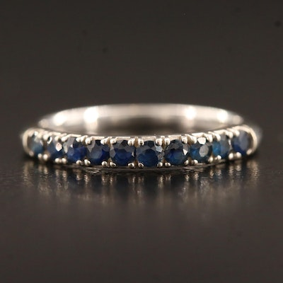 14K Round Faceted Sapphire Band