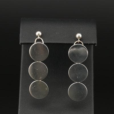 Sterling Circular Disk Drop Earrings