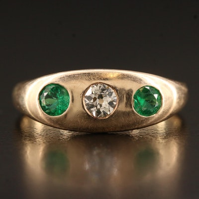 Antique 14K and 10K Emerald and Diamond Band