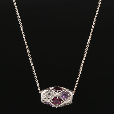 Sterling Silver Rhodolite Garnet, Amethyst and Topaz Necklace
