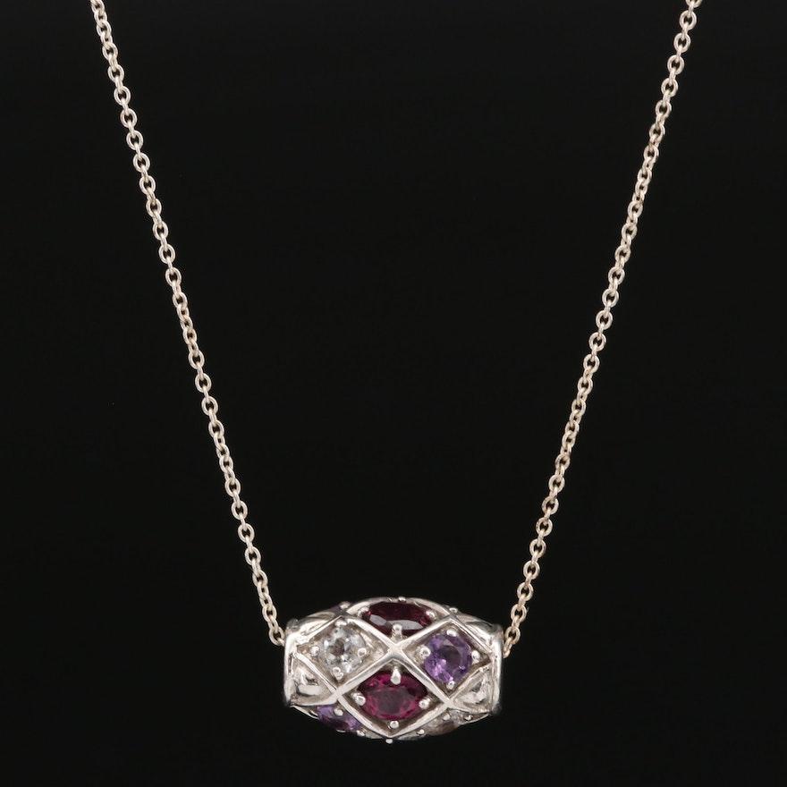 Sterling Silver Rhodolite Garnet, Amethyst and Topaz Necklace