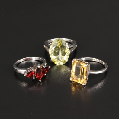 Sterling Silver Citrine and Garnet Three Stone and Cocktail Rings