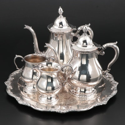 Wallace Melford Silver Plate Coffee and Tea Service with 1847 Rogers Bros. Tray