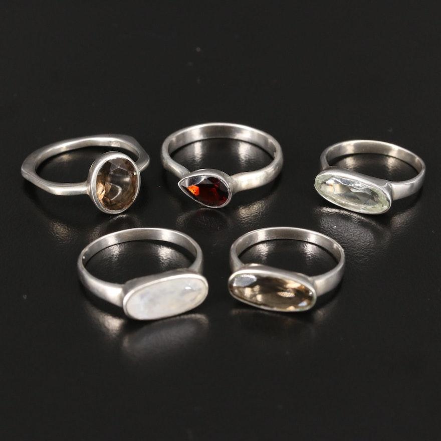 Sterling Silver Smoky Quartz, Garnet and Moonstone Rings