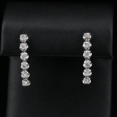 14K Diamond Illusion Set Drop Earrings